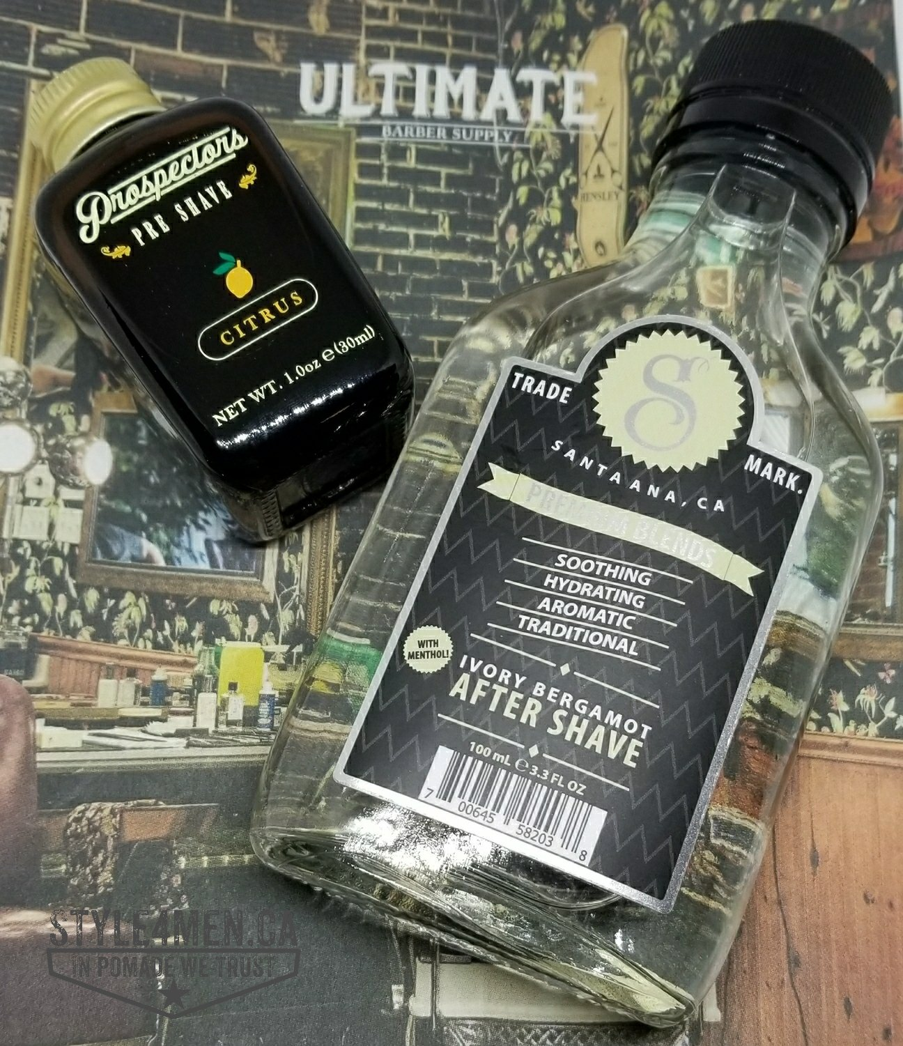 Shaving in total comfort with Prospectors oil and Suavecito's aftershave